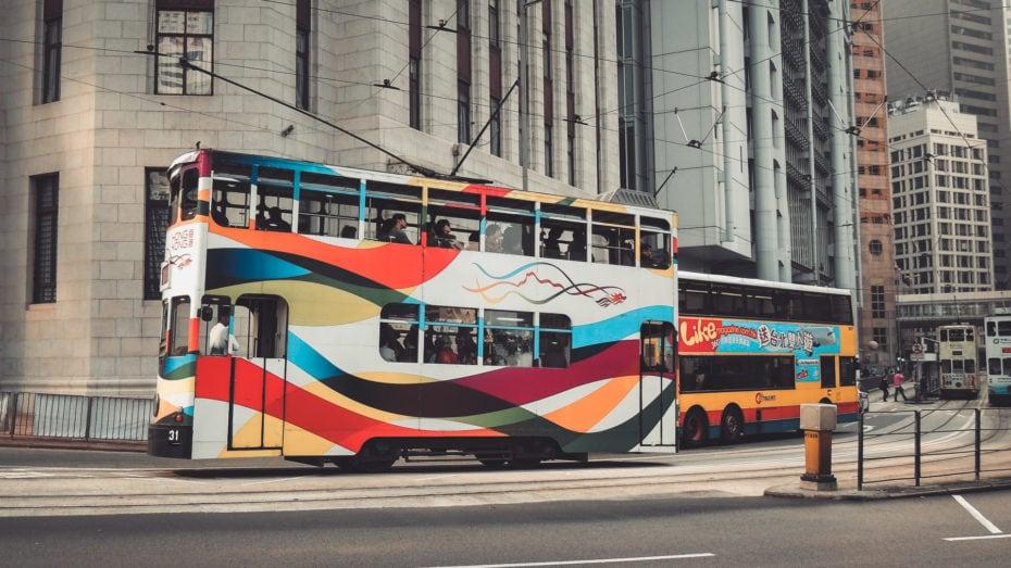 Tramway pour se déplacer dans l'île de Hong Kong